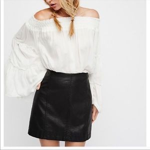Free People Vegan leather Femme skirt black 10